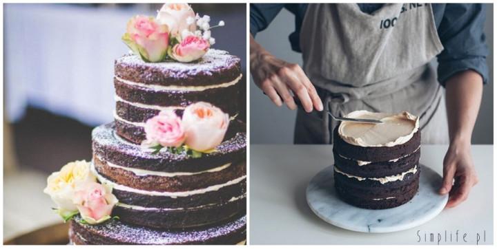 Nagie torty, minimalistyczny tort weselny.