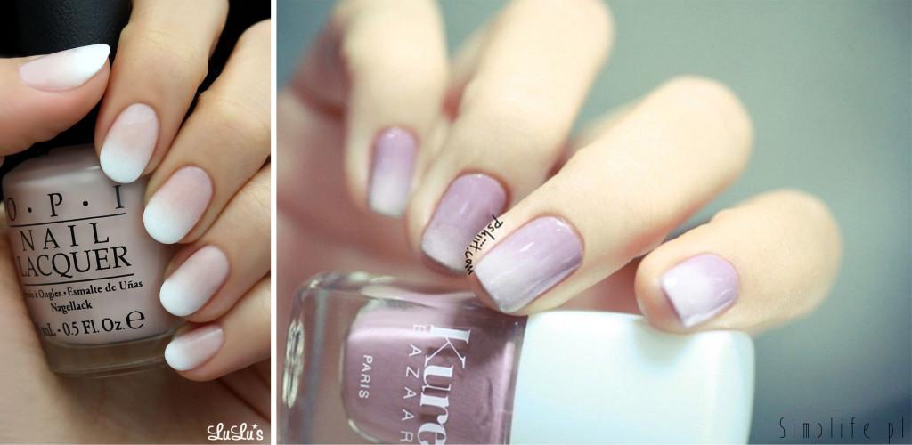 paznokcie ślubne ombre