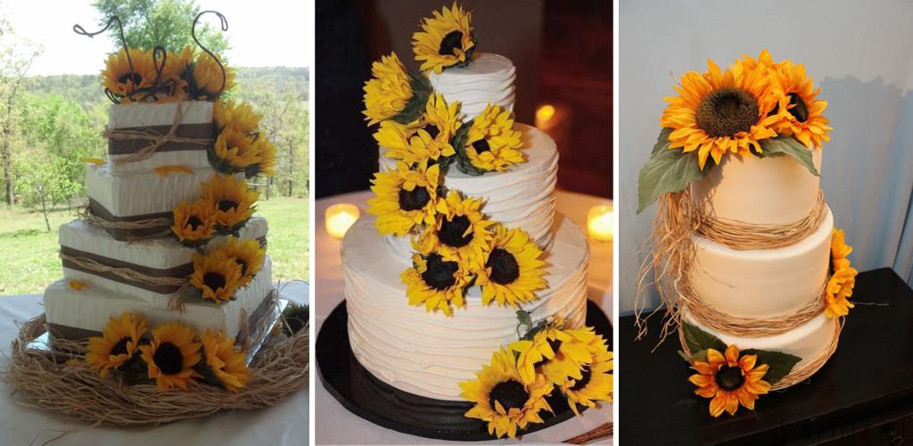 słonecznik tort weselny