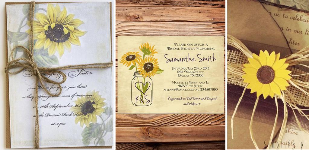 słonecznik zaproszenia ślubne
