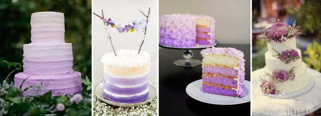fioletowy tort weselny