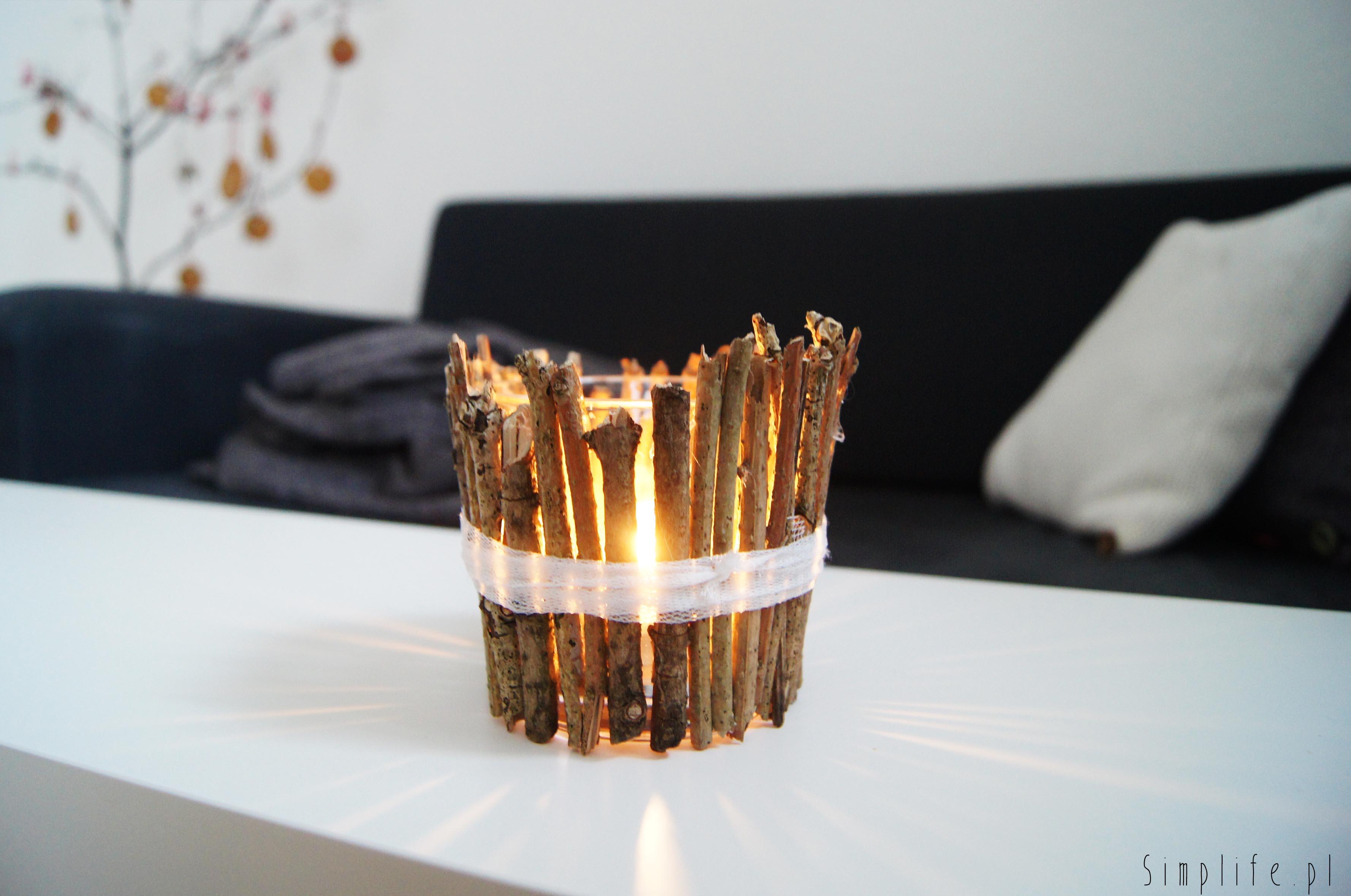 jak zrobić świecznik z gałązek