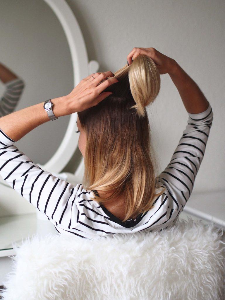 blond ombre półdługie włosy