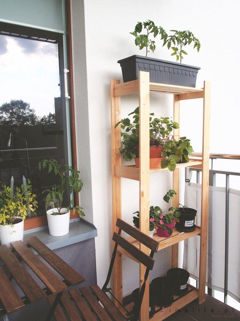 Aranżacja balkonu w bloku półka z roślinami