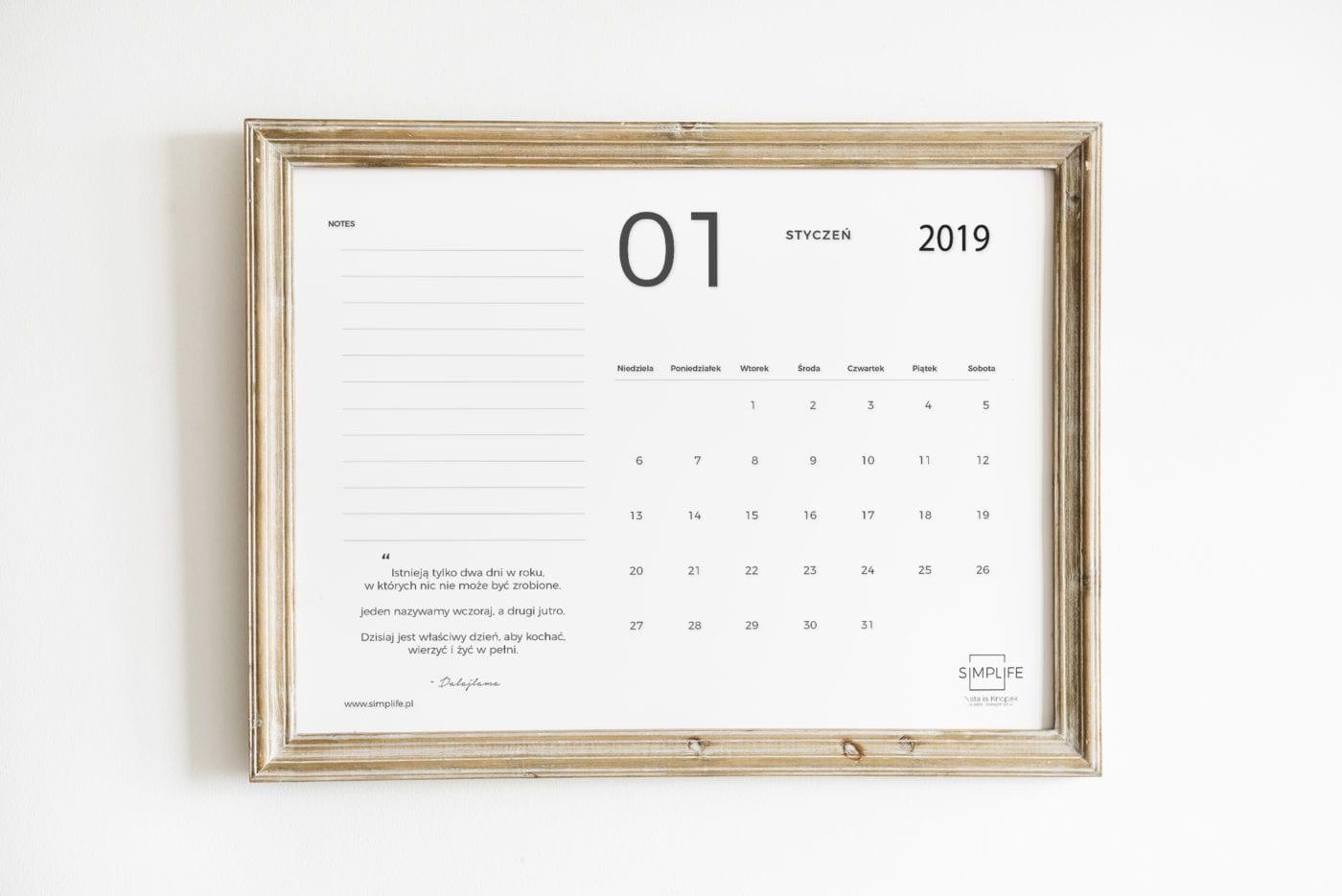 darmowy kalendarz 2019 do druku