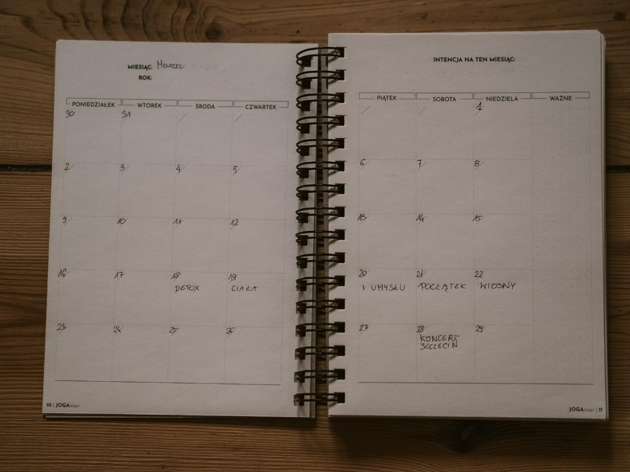 joganizer układ miesięczny
